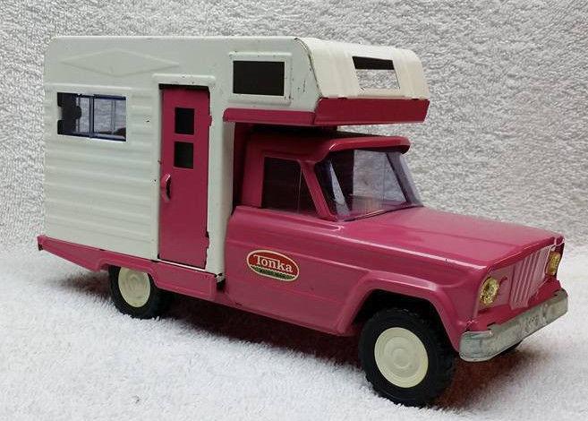 Vintage Pressed Steel Tonka Jeep Camper Truck Pink