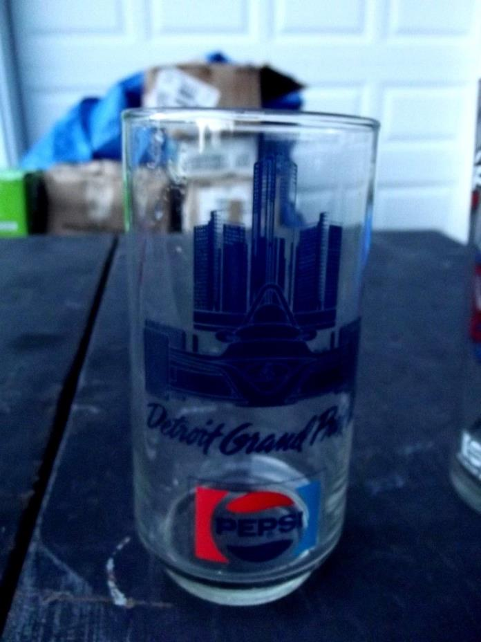 Pepsi Detroit grand prix cartoon glass