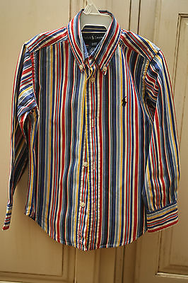 Boys RALPH LAUREN Red Blue Yellow White Striped LS Dress Shirt 3/3T EUC