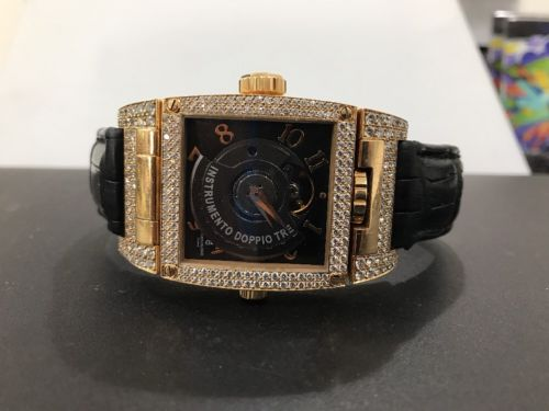 De Grisogono 18k Men's Rose Gold  3 Times Zone Watch