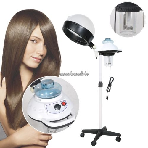 Double Hair Steamer & Stand Salon Color Processor Conditioning w/ Wheels