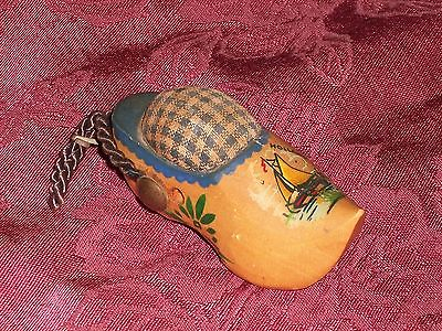 Vintage Holland Miniature Wooden Shoe w/ Sailboat Scene Sewing Pincushion