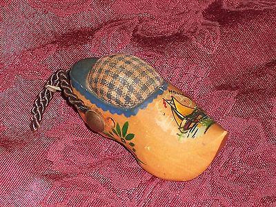 Vintage Holland Miniature Wooden Shoe w/ Sailboat Scene Sewing Pincushion