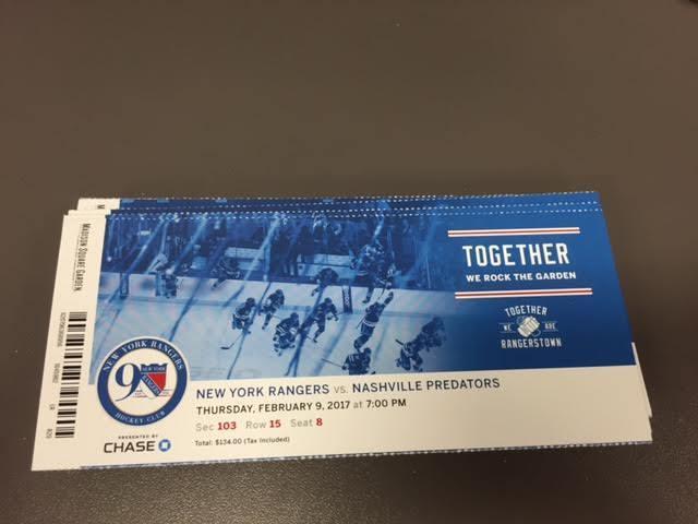 New York Rangers Nashville Predators MINT Season Ticket 2/9/17 2017 NHL Stub