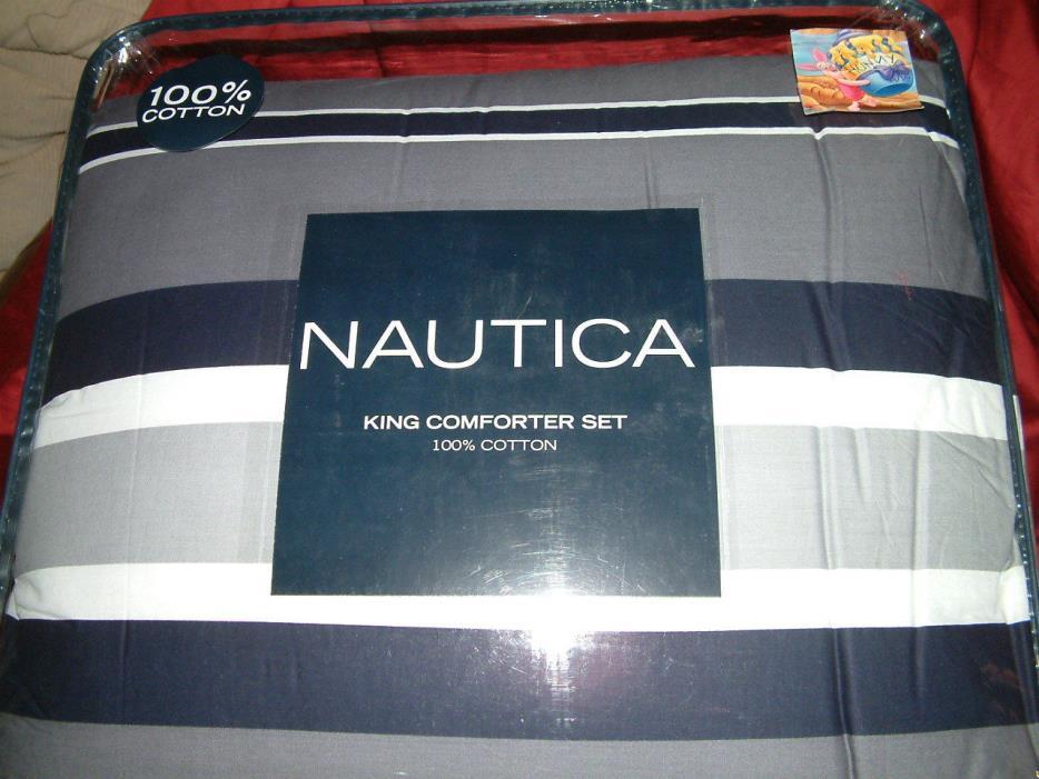 NAUTICA  BAIRSTONE GRAY NAVY BLUE  STRIPE  4 PC  KING  COMFORTER SHAMS BEDSKIRT