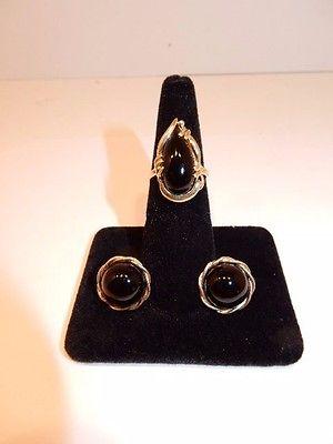 14K Yellow Gold Black Onyx Ring & Earrings