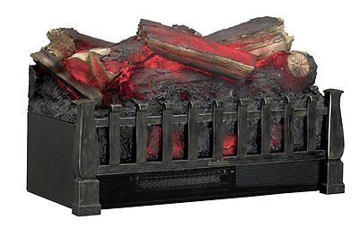 Faux Electric Fireplace Insert Realistic Log Ember Bed Antique Bronze Heater