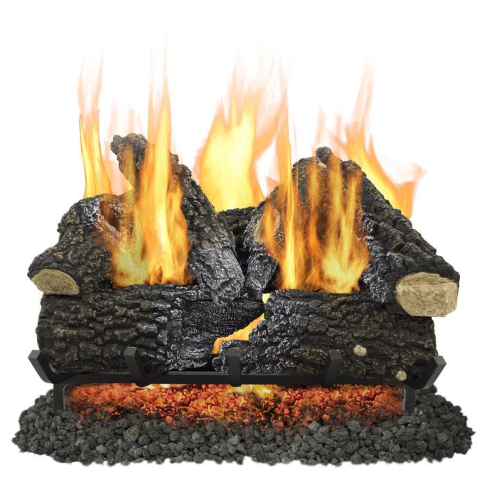 Pleasant Hearth 24 in 55000 BTU Pan Vented Gas Fireplace Logs Indoor Heater