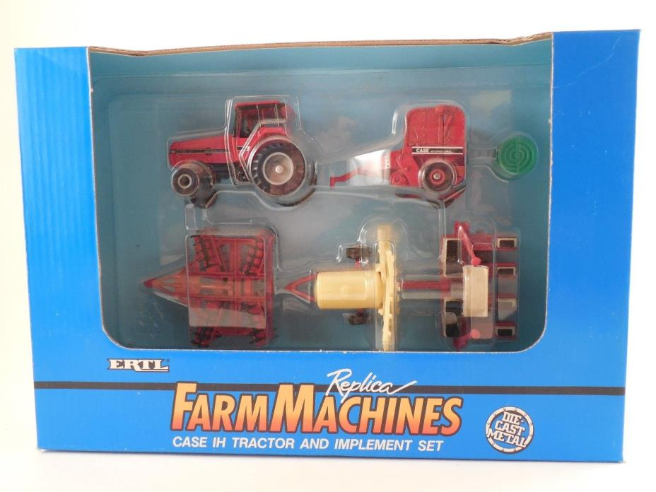 ERTL Die Cast 1/64 Scale FarmMachines Case IH Tractor & Implement Set 7130 NIP