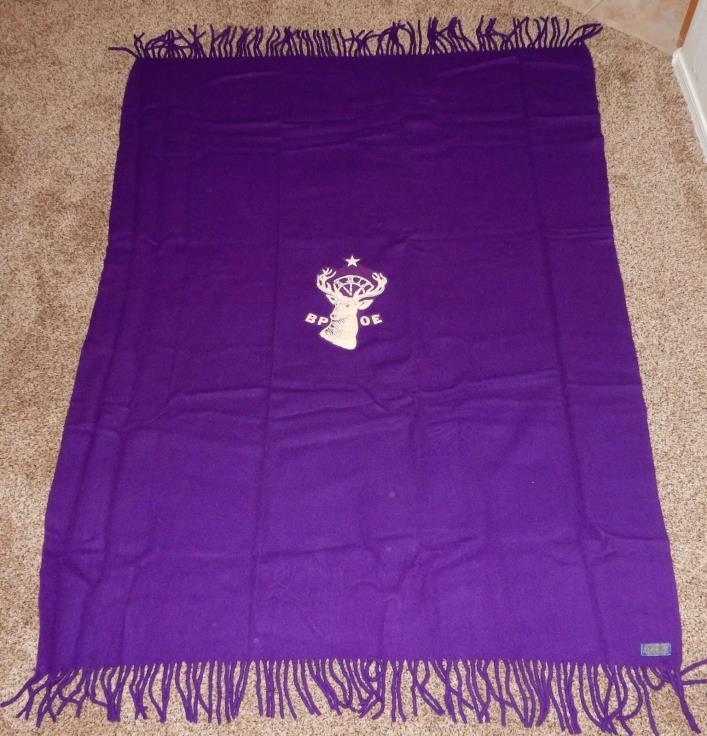 Vintage PENDLETON LAP ROBE STADIUM BLANKET BPOE Wool Purple