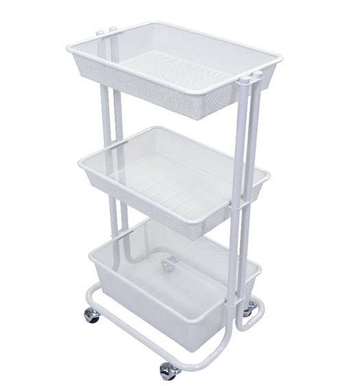 Serving Cart 3 Tier Storage Organizer Shelf Serve Store Food Supply Metal Basket