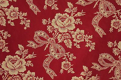 Vintage French faded floral c1900 red floral bow fabric material antique
