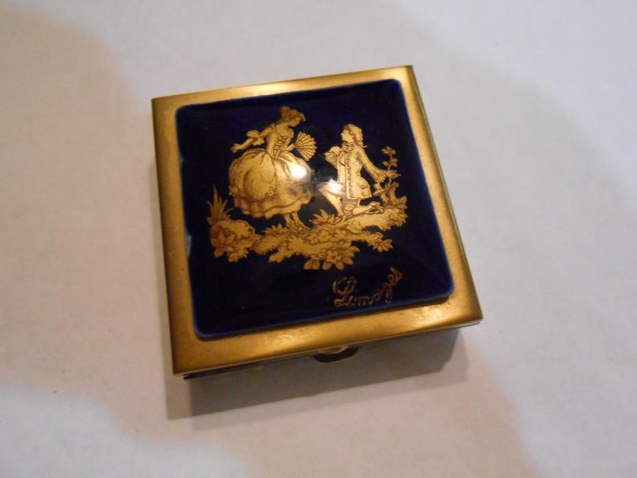 Limoges France Blue Porcelain and Gold Metal Pill Box