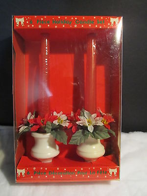 VINTAGE CHRISTMAS CANDLE SET - 2 HOLDERS, POINSETTA RINGS & CANDLES -HONG KONG