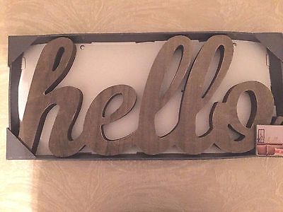 Wood Hello Sign Free Standing  Solid Wood