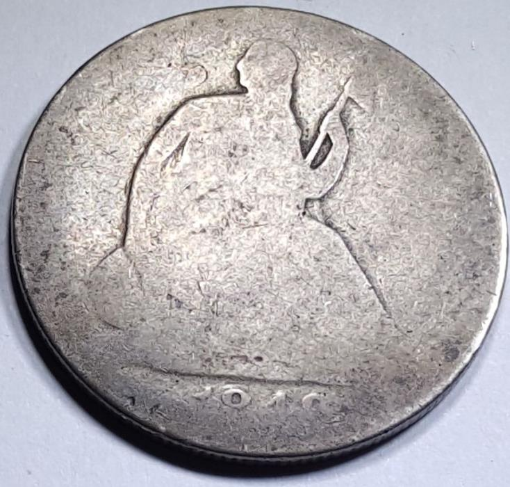 1848-O US Seated Liberty Silver Half Dollar Antique Vintage Old 50 Cent Currency