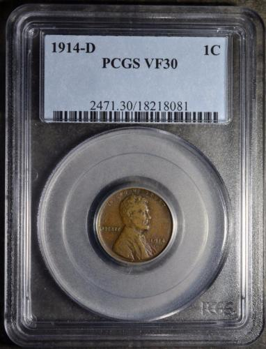 1914-D PCGS VF30 Lincoln Cent Rare KEY Date Penny 1C Antique Copper Ships FREE