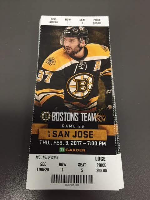 Boston Bruins San Jose Sharks MINT Season Ticket 2/9/17 2017 NHL Stub