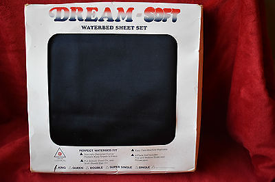 Vintage Dream Soft BLACK SATIN King Waterbed Sheet Set