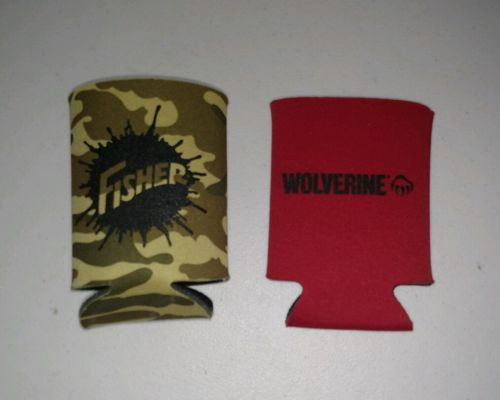 Lot of 2 Beer Soda Can Foam Cooler Koozie Camo Fisher Plow Wolverine Boots Red