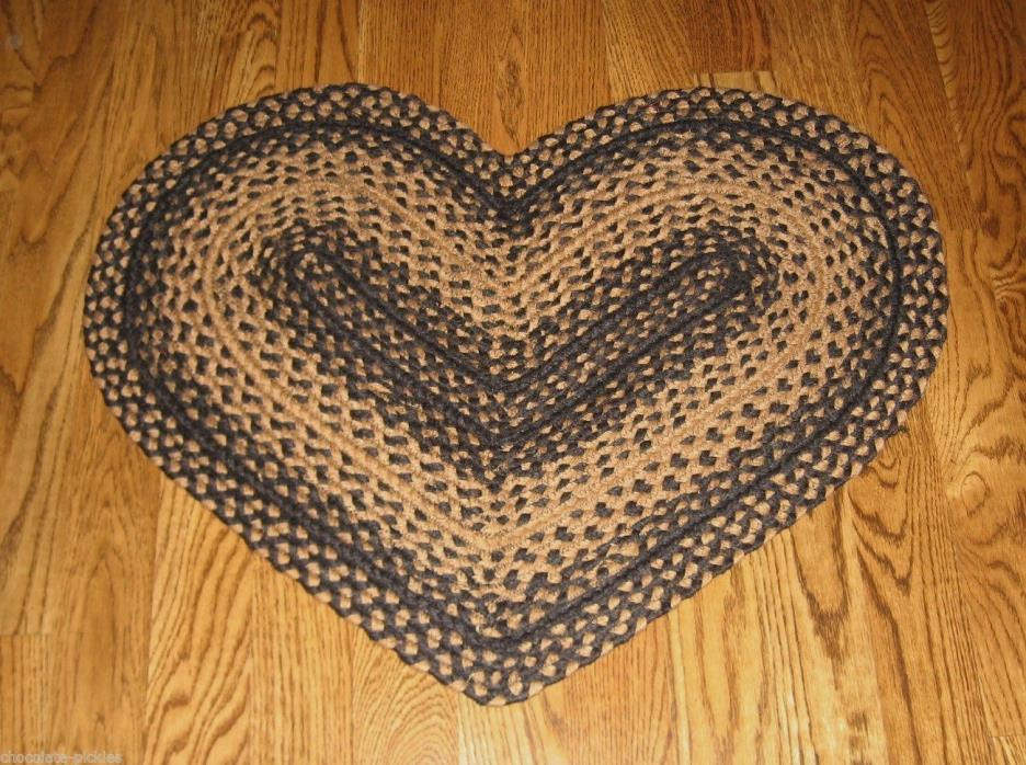 Primitive Decor Braided HEART Throw RUG*Kitchen/Bath/Mud Room*Valentine Gift!