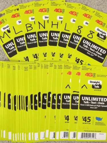 INSTANT Straight Talk Refill Card 30 Day $45 Unlimited Talk Text Data 4G Top Up