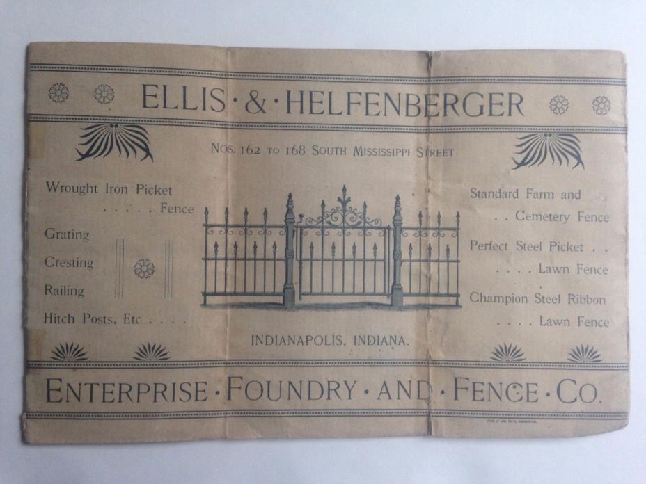 1800s ELLIS & HELFENBERGER FENCE CO. CATALOG WROUGHT IRON FENCE