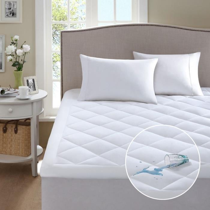 Mattress Topper Pad Waterproof Bed Cover Hypoallergenic Polyester Filling Twin