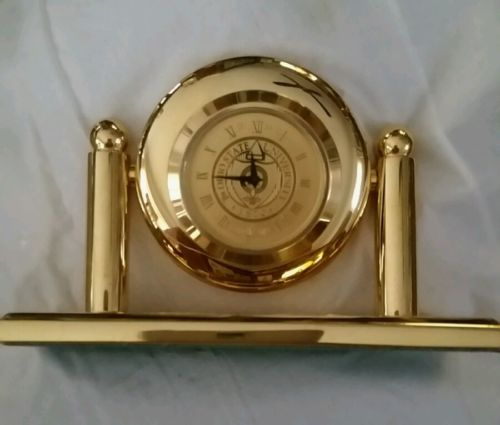 Solid brass desk clock, medallion face, Ohio State University logo