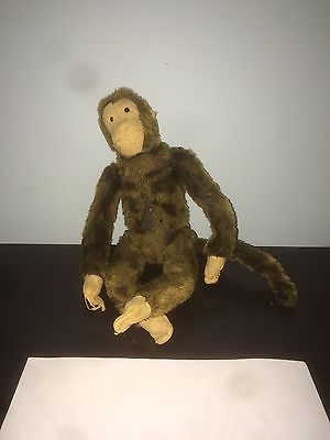 Antique Stuffed Animal Brown Monkey Old Straw Stuffed Fully Jointed Wire Frame