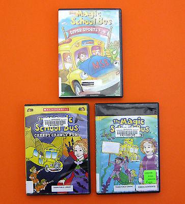 THE MAGIC SCHOOL BUS (Lot of 3 DVDs) Scholastic Kids Children's Educational Show