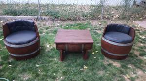 2 wine barrel chairs and storage table (federal heights)