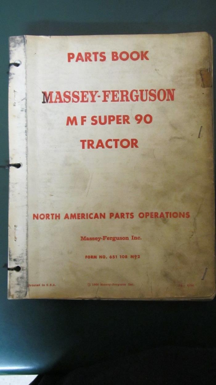 MASSEY FERGUSON SUPER 90 PARTS BOOK