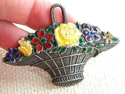 antique SILVER stamped ENAMEL brooch basket with flowers ~