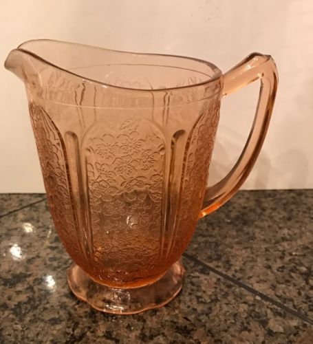 Pink Cherry Blossom Depression Glass Pitcher
