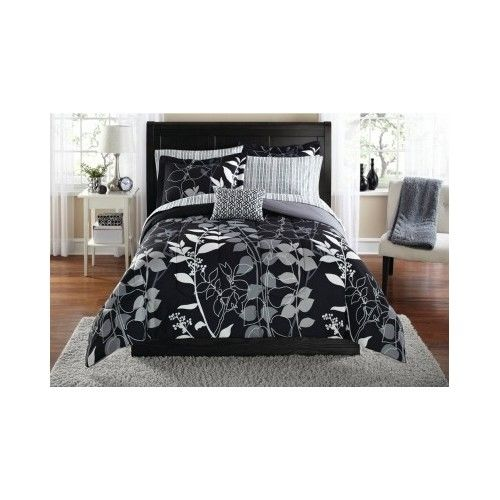 Modern Bedding Set Comforter Reverse Black White Bag Nature Opulent Shams QUEEN