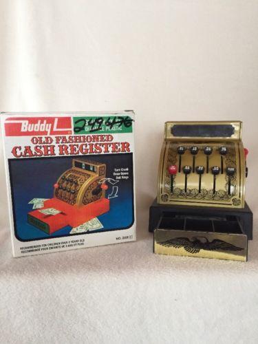 Vintage Buddy L Cash Register Gold Black Steel Plastic