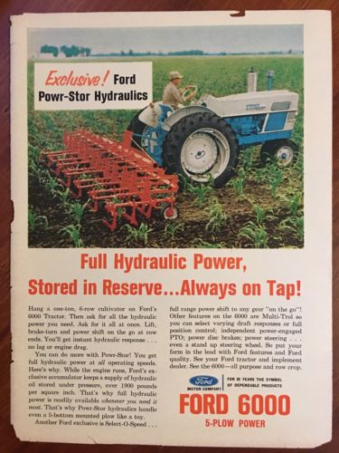 Vintage 1963 Original Print Ad FORD 6000 5-Plow TRACTORS Powr-Stor Hydraulics