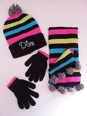 WINTER 3 PC DOUBLE KNITTED HAT, SCARF & GLOVE SET WITH