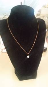 fire opal and diamond heart pendant on gold chain (Ahwatukee)