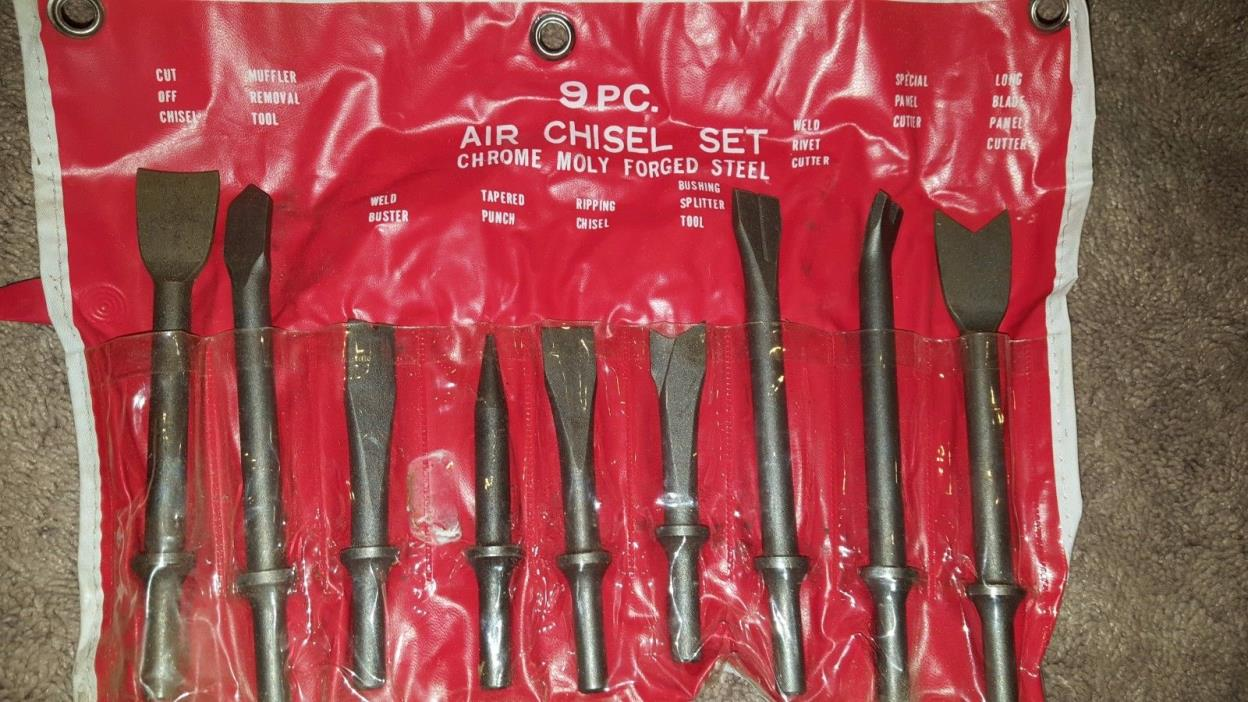 Vintage Chrome Molly Air Chisel Tool Set 9 Pieces