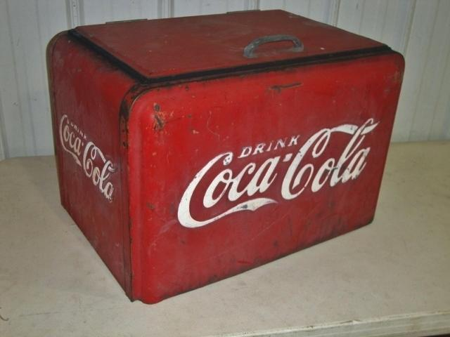 Antique Coca-Cola #37 Metal Cooler w/Raised 1-Lettering & Galvanized Interior