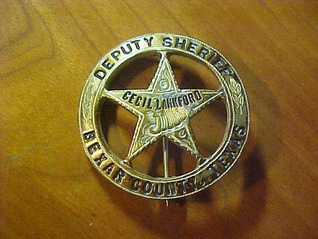 Vint. Bexar County Texas Deputy Sheriff Silver Peso Circle Star Badge & ID Card