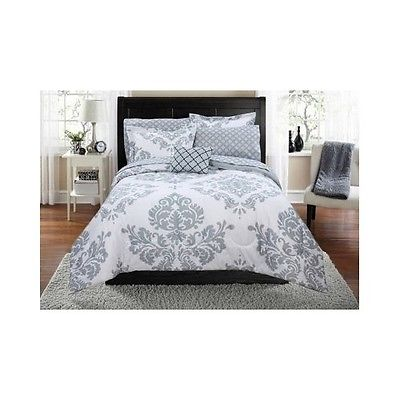 Damask Bedding Set Comforter Modern Reverse Gray White Bag Beautiful Shams Full