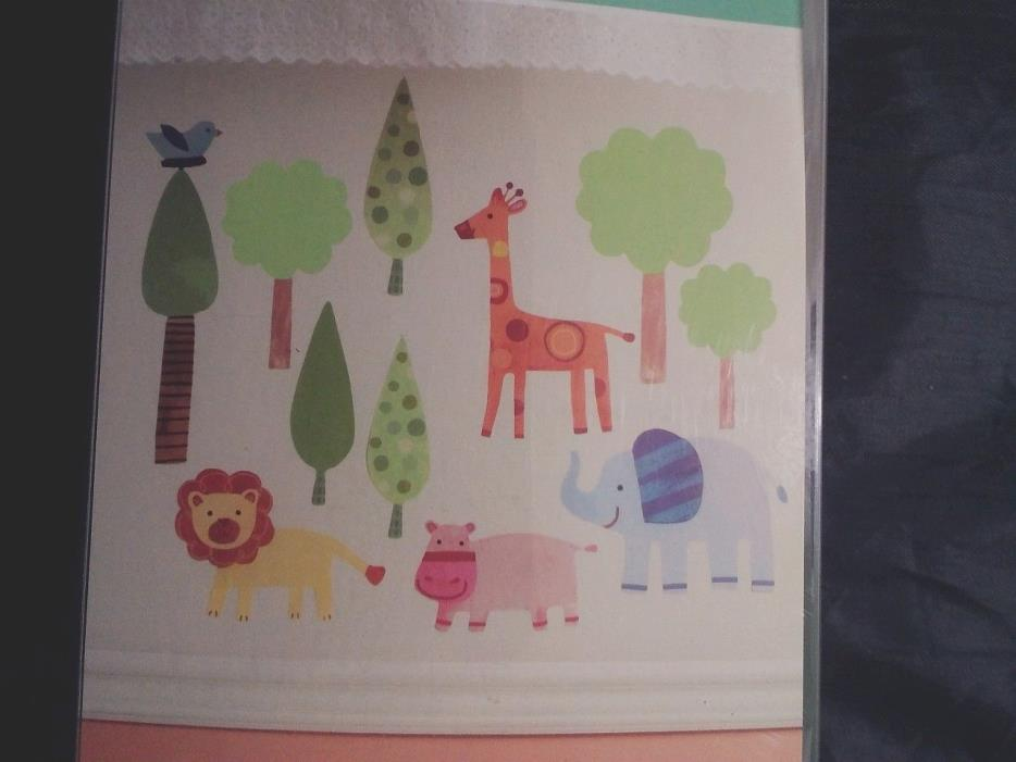 WALLIES BABY Wall Decor Set VINYL STICKERS Wall Decals WILD ANIMALS Jungle SCENE
