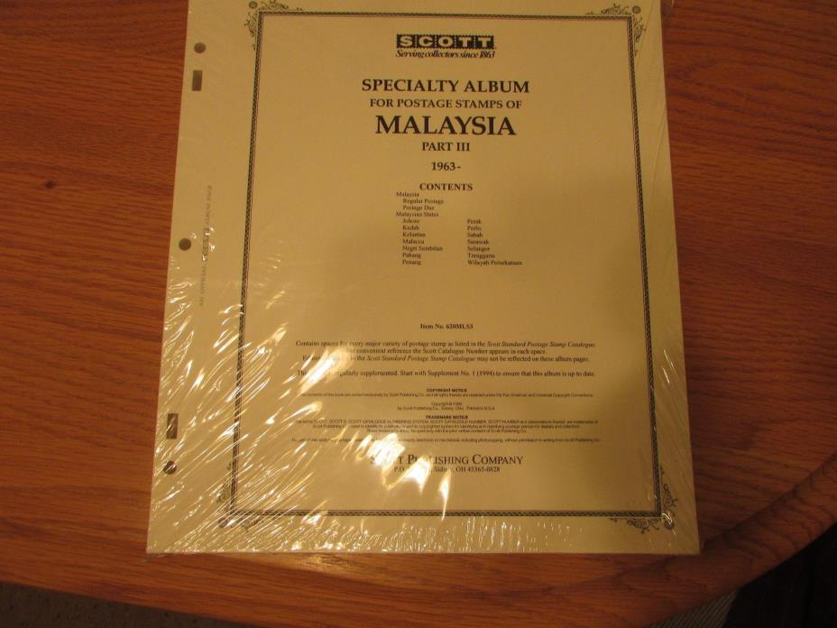 Scott Specialty Malaysia Stamp Album Supplement 1963-