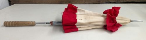 Antique Women's Parasol Red White 40's 50's Fabric Shade