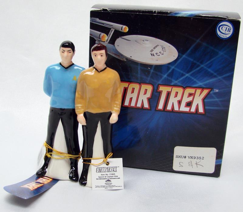 NIB Star Trek Captain KIRK SPOCK Salt Pepper Shaker Westland 21805 New in Box