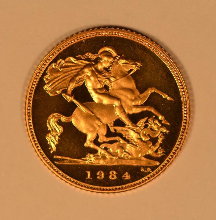 1984 Great Britain Queen Elizabeth II gold proof half sovereign