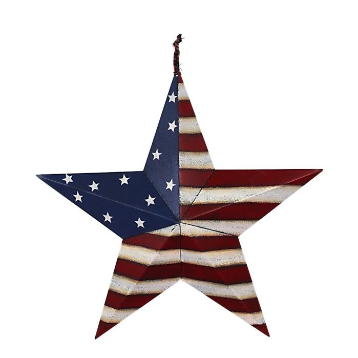 July of 4th Americana Patriotic Wall Decor American Flag Barn Metal 3D Star
